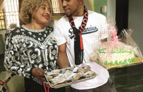 Charles Okocha Gifts His Mum Tray Full Of Cash