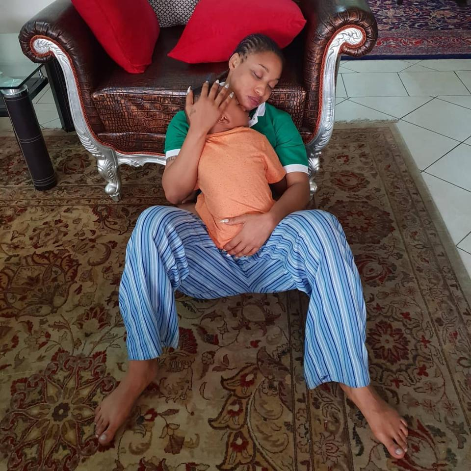 Tonto Dikeh Reacts After Son Gets Emotional And Decides She Holds Him All Day