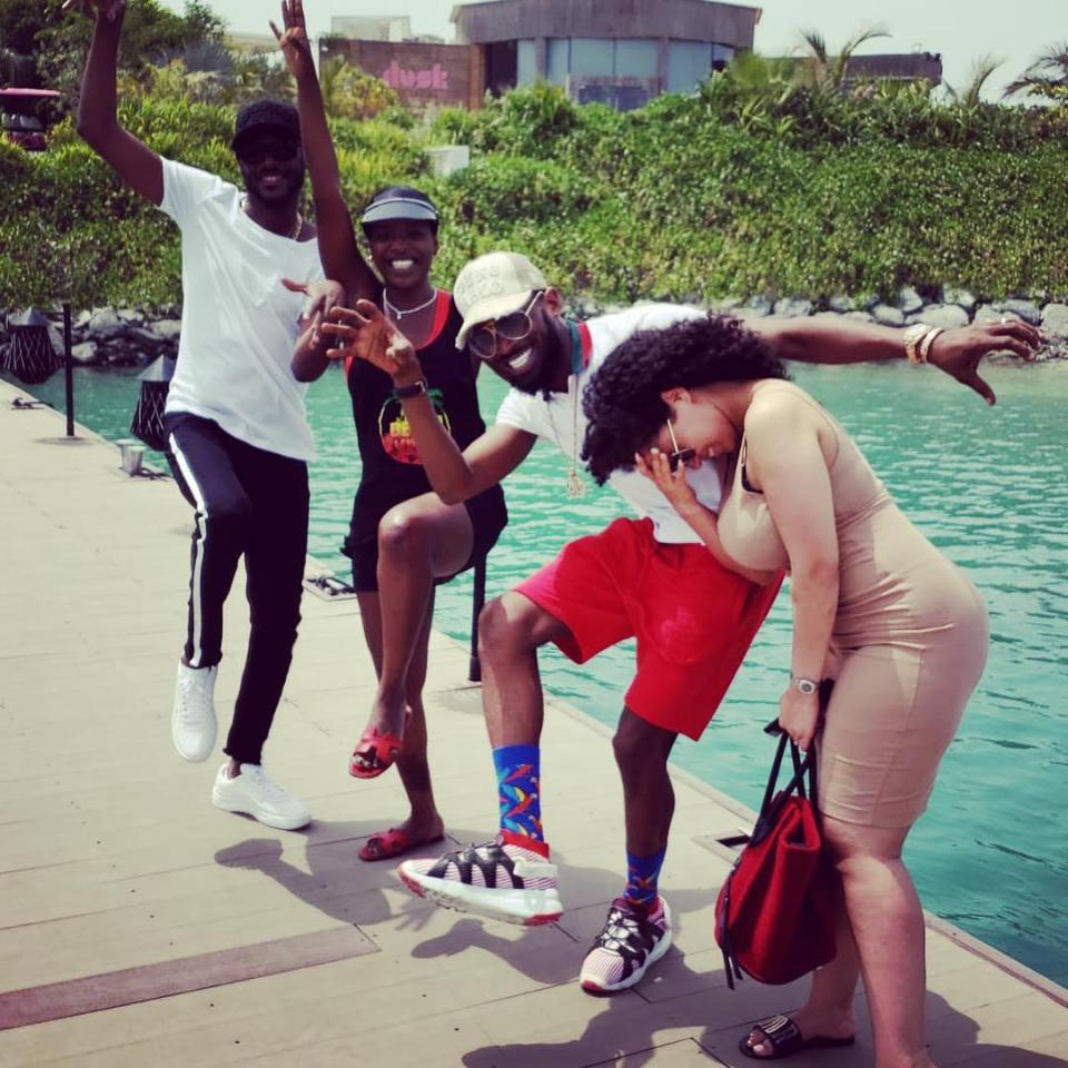 D'Banj And 2Baba Vacation With Wives In Dubai
