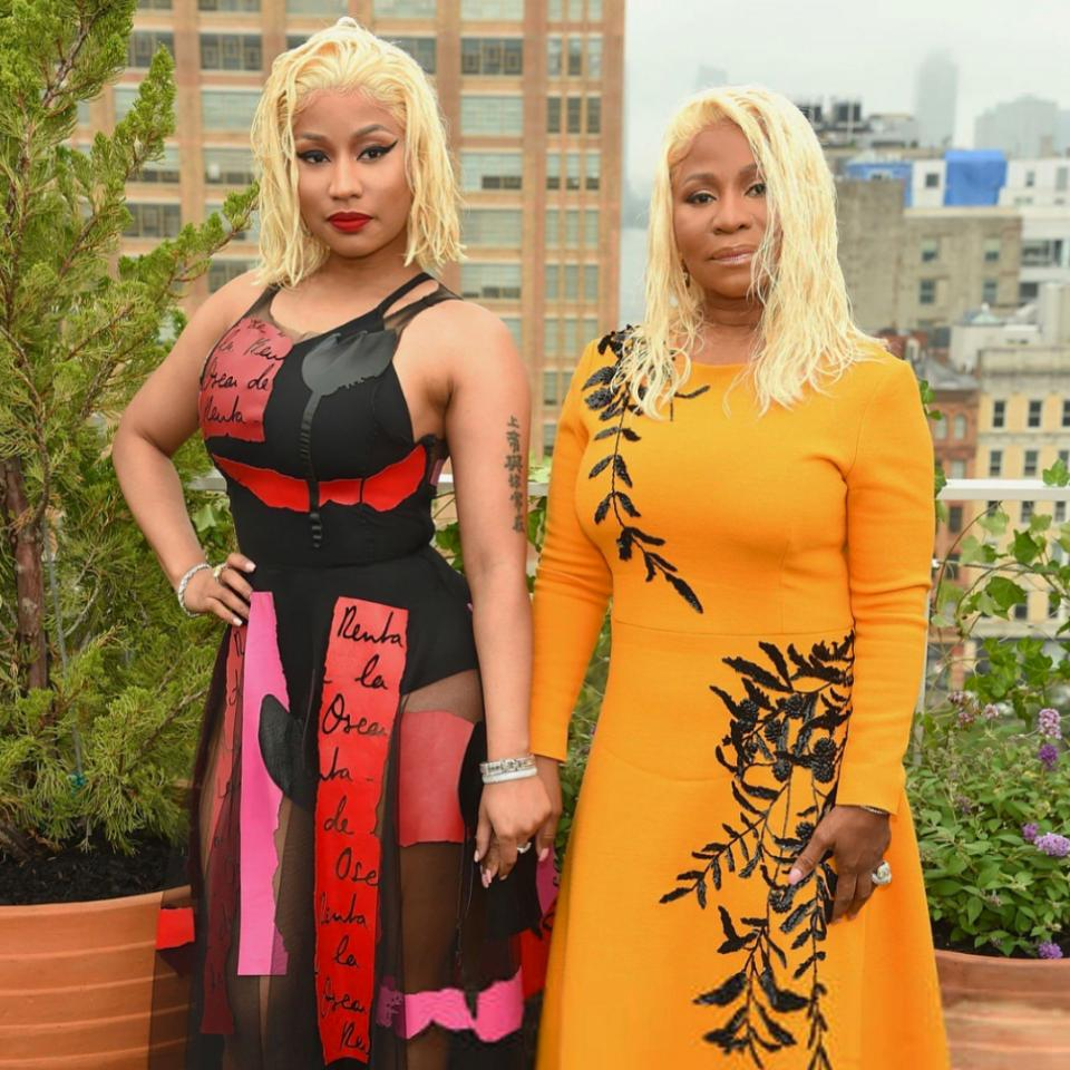 Nicki Minaj And Mother Twinning With Platinum Blonde Wet Hair