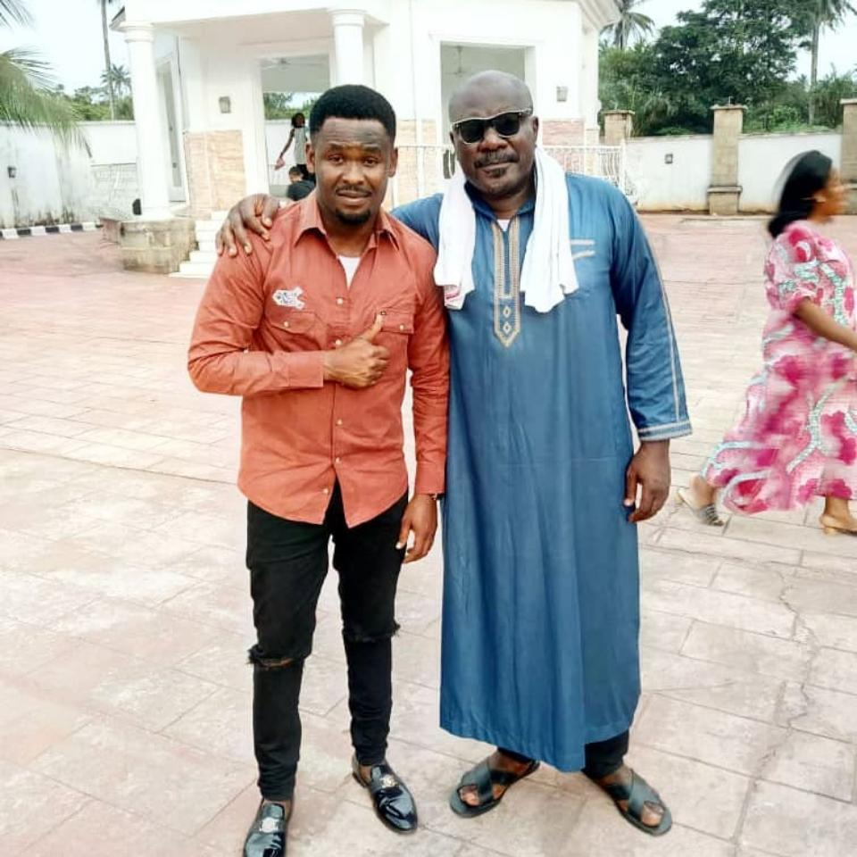Zubby Michael Poses With Sam Dede On Set