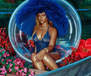 Rihanna Models Racy Cobalt Bodysuit