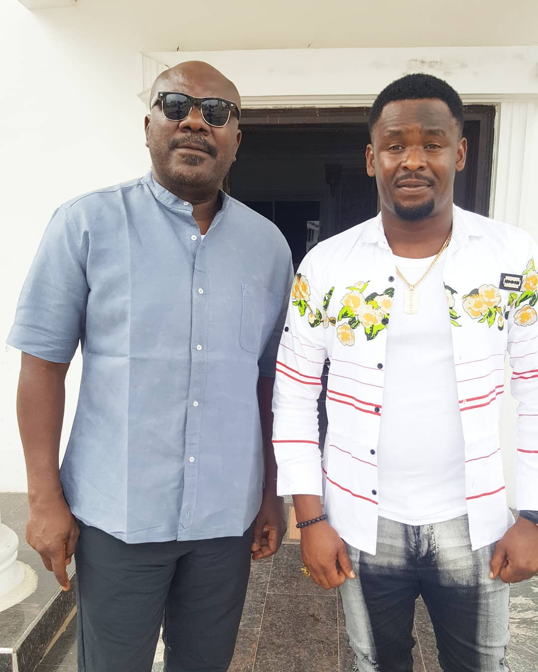 Nollywood: Zubby Michael Poses With Sam Dede On Set New Movie