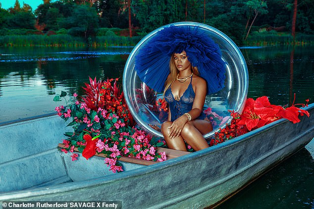 Rihanna Models Racy Cobalt Bodysuit (2)