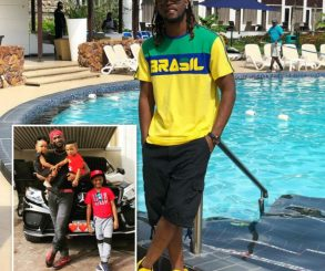 Paul Okoye Poses With His 3 Children
