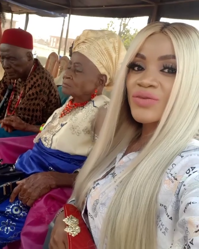 Uche Ogbodo Rocks Village Party With Her Grandparents (3)