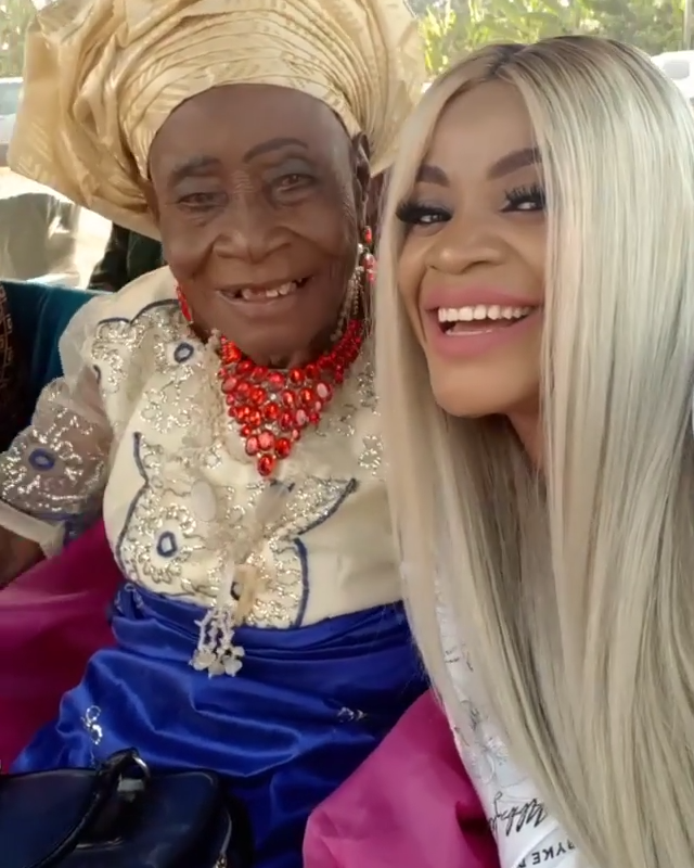 Uche Ogbodo Rocks Village Party With Her Grandparents (5)