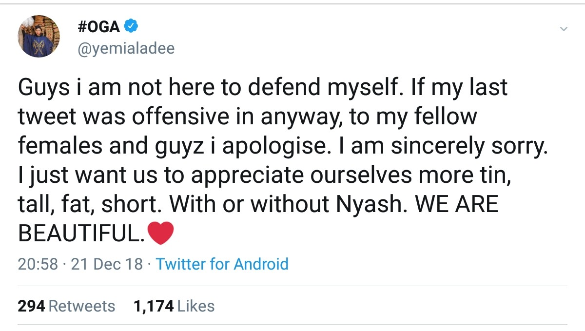 Yemi Alade Apologises For Increasing Your Ynash In Your Pictures Tweet (2)