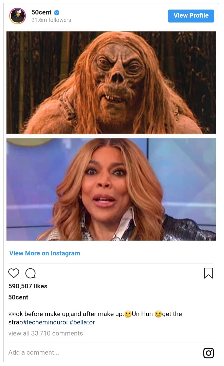 50 Cent Shares Wendy Williams Before And After Make-Up (2)