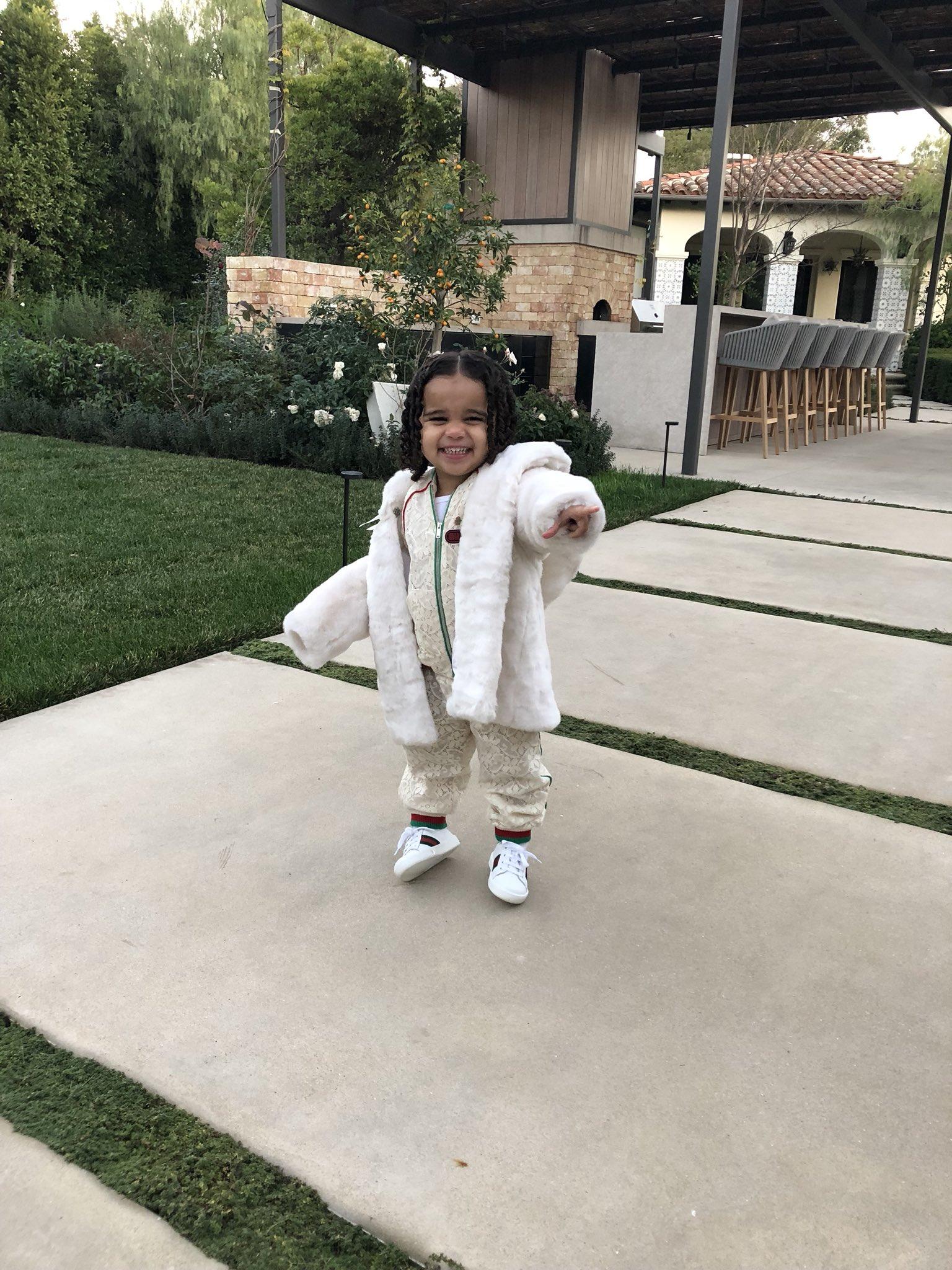 Dream Kardashian Flashes Big Smile In Gucci Onesie (2)