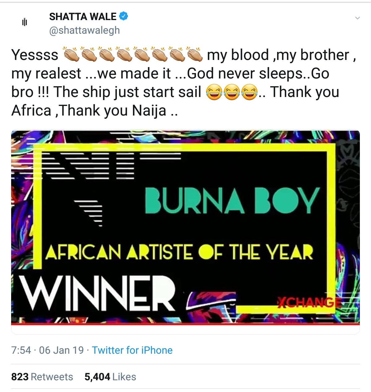 Shatta Wale Congratulates Burna Boy
