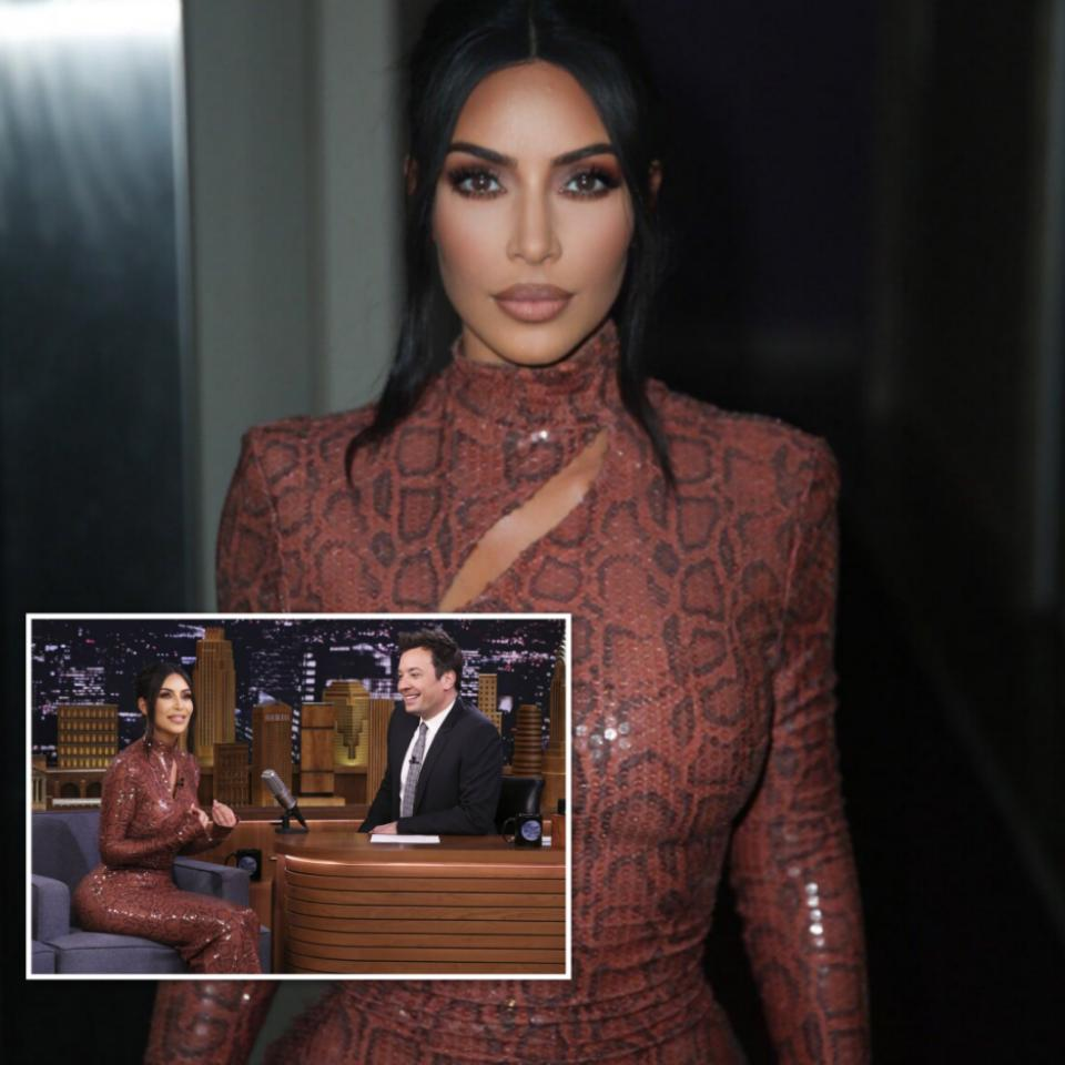 Kim Kardashian Skin Tight Snakeskin Dress For Jimmy Fallon appearance