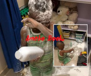 Tonto Dikeh Catches Son Using Baby Powder To Cover The House