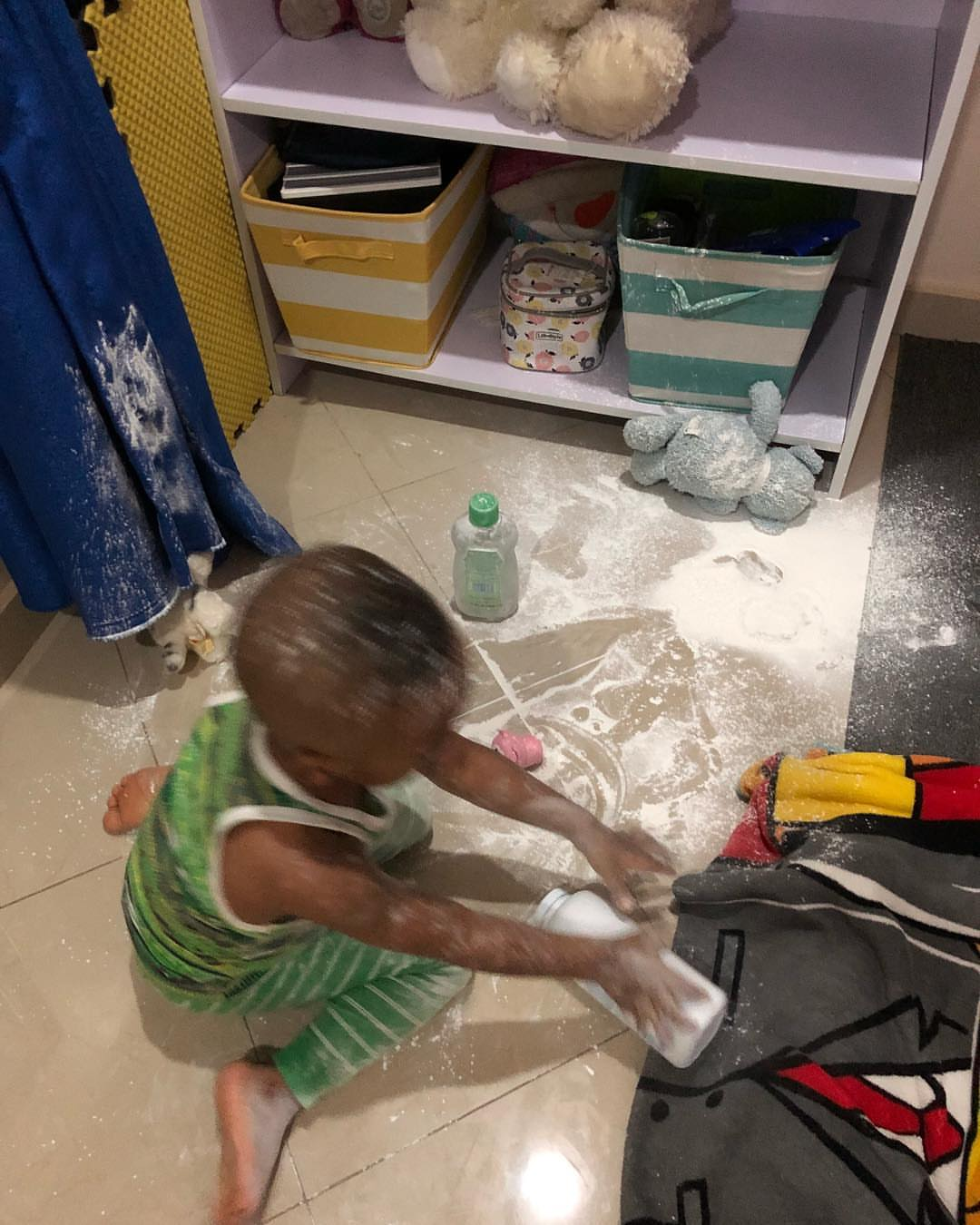 Tonto Dikeh Catches Son Using Baby Powder To Cover Himself (2)