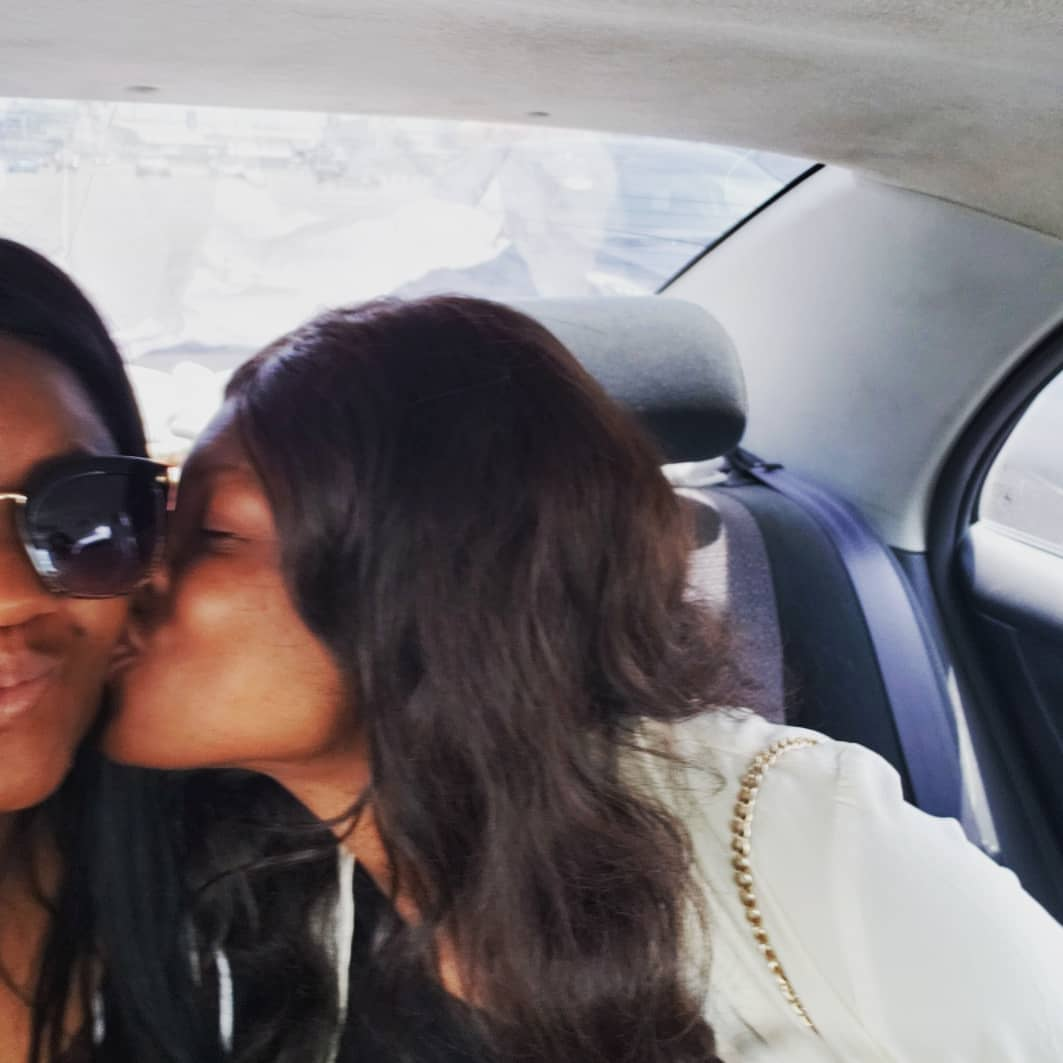 Omotola Jalade Pecked On Cheek By Daughter