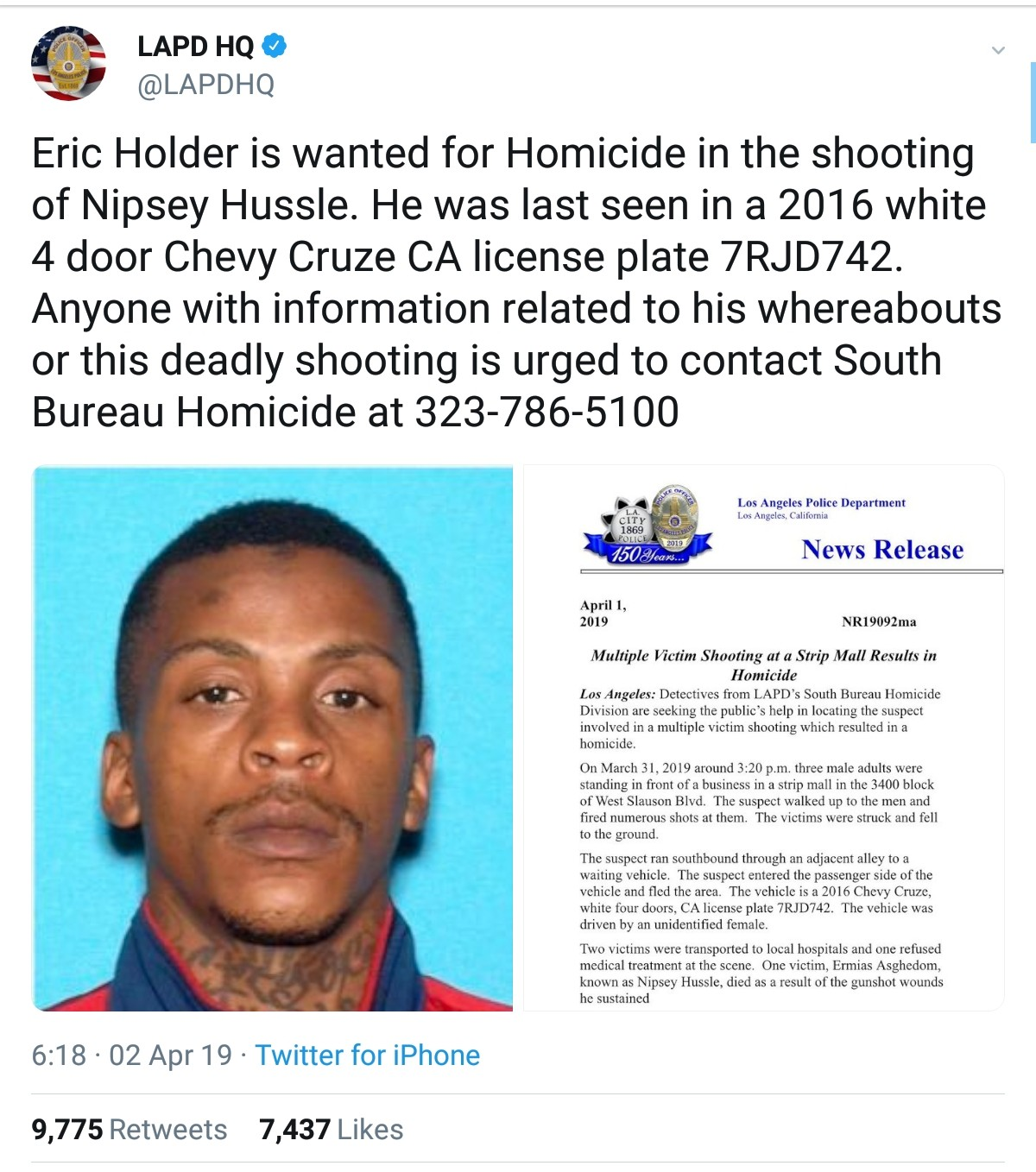Man Suspected To Have Shot And Killed Nipsey Hussle (2)