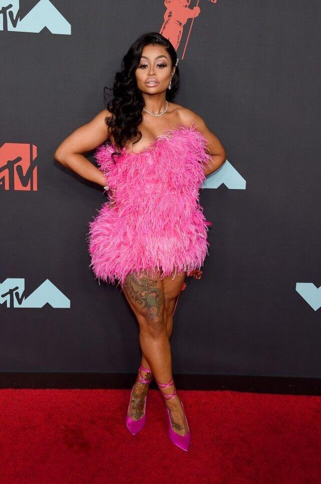 Blac Chyna Feathery Pink Birthday Dress To MTV VMAs