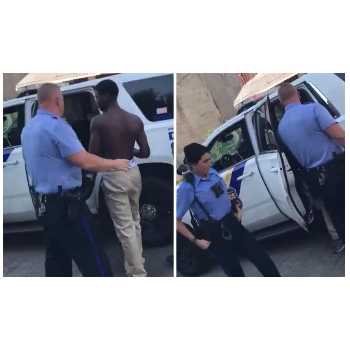 White Philadelphia Cops Harass Shirtless Black Boy Waiting For Bus