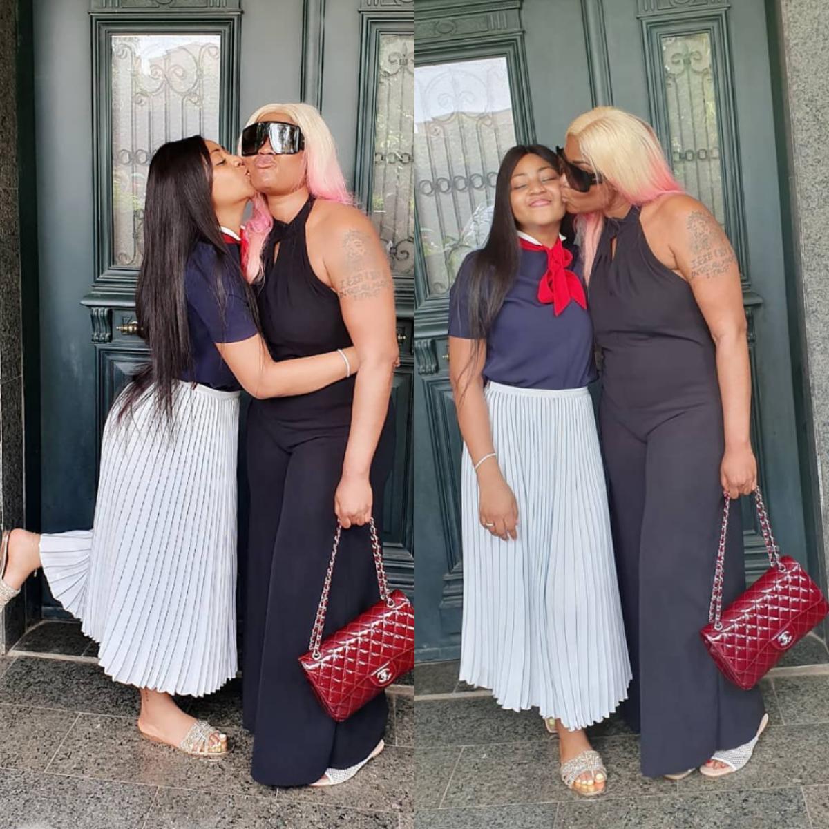 Regina Daniels Angela Okorie Cheek Kissing Hanging Out