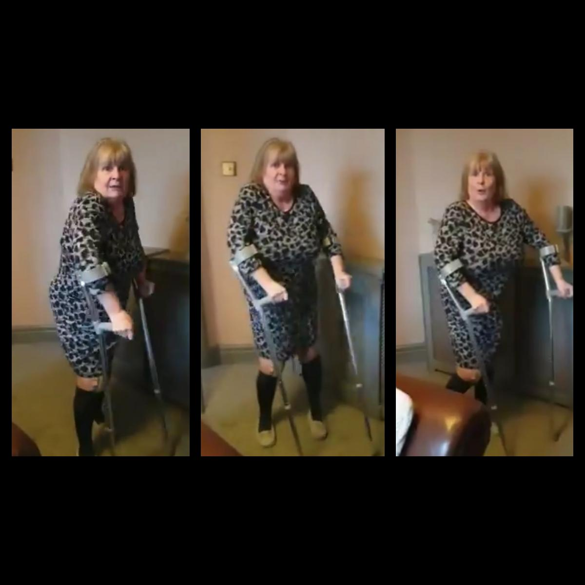 Stourbridge Grandmother On Crutches Dancing To Missy Elliot
