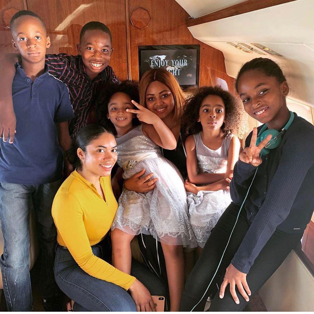 Regina Daniels Poses With All Ned Nwoko Children