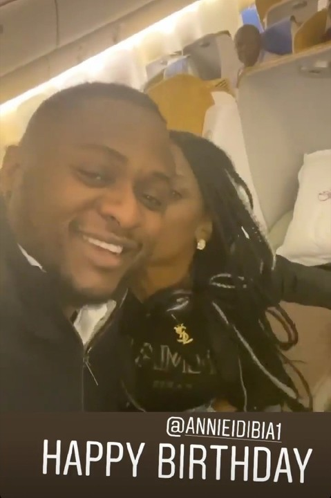 Annie Idibia Gives Ubi Franklin A Peck While On The Plane (3)