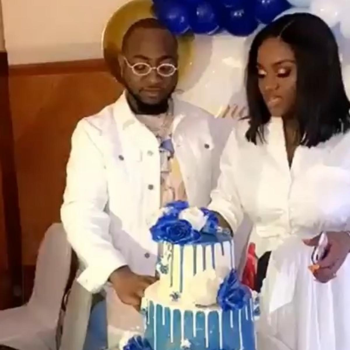 Davido Feeding Chioma At Their Child's Naming Ceremony