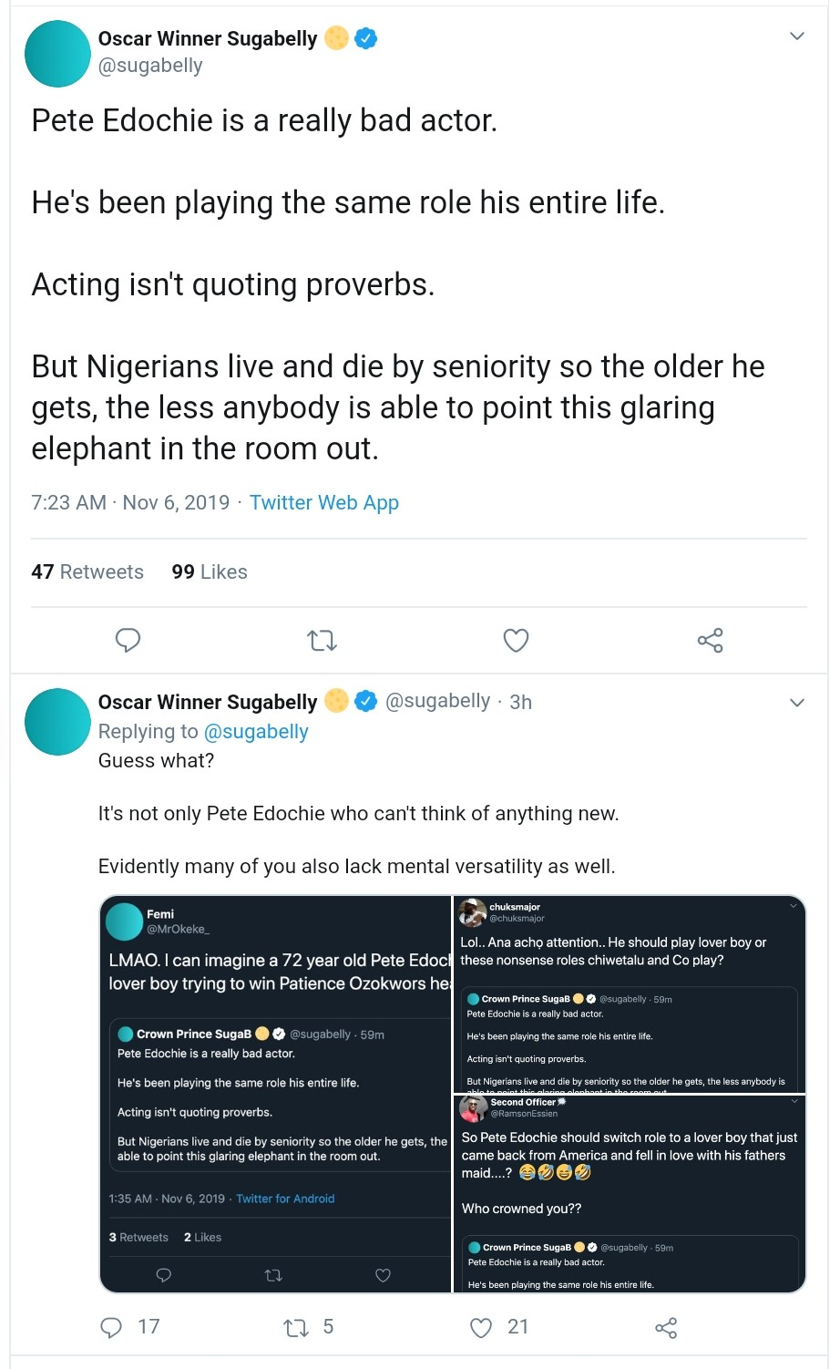 Twitter User Says Pete Edochie Is A Bad Actor (2)