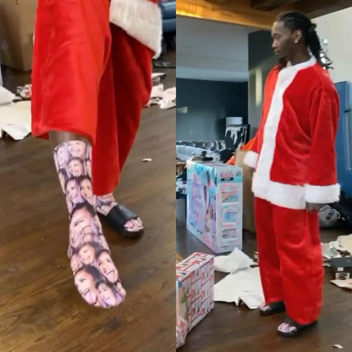Offset Dancing Around In Santa Costume