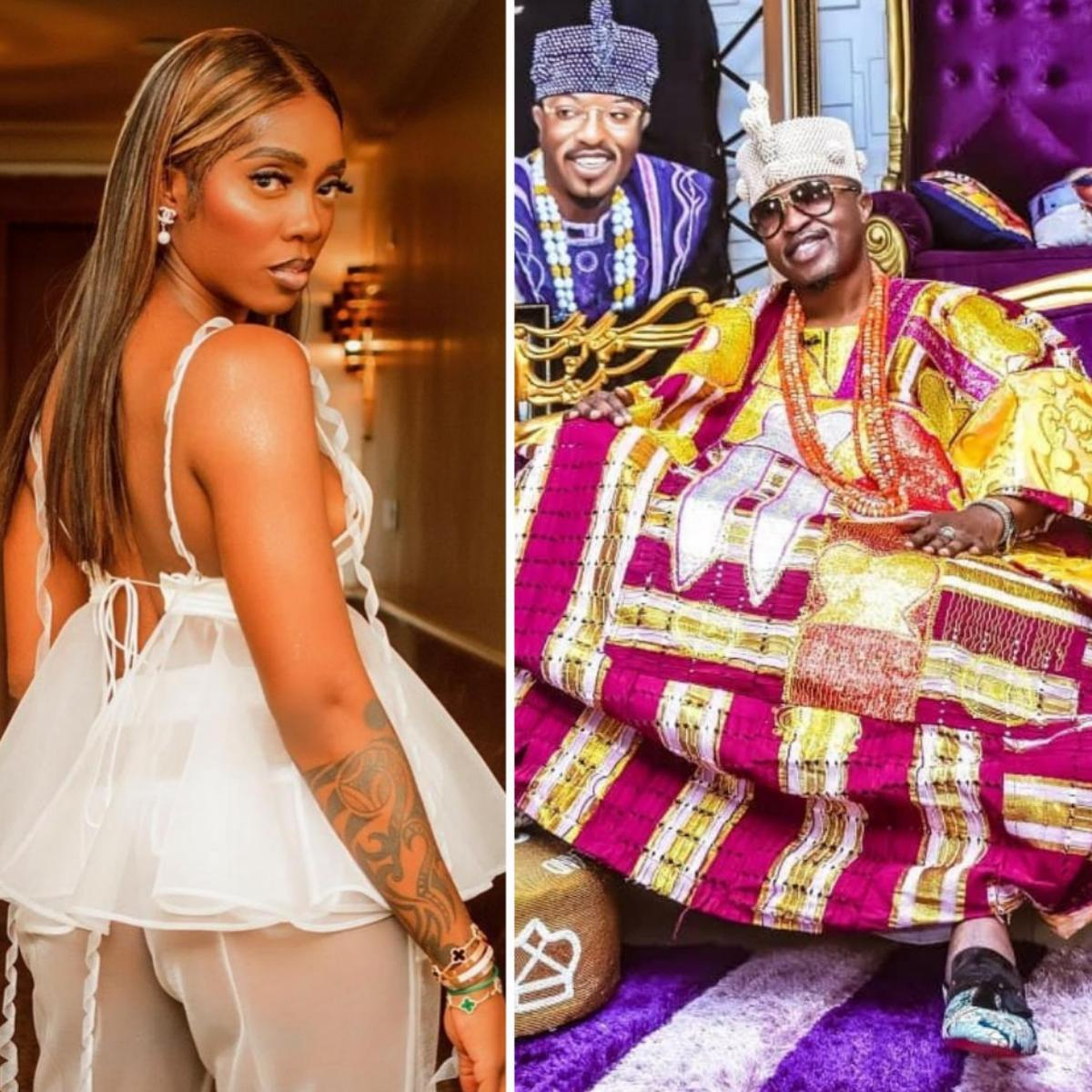 Oluwo Of Iwo Kisses Tiwa Savage