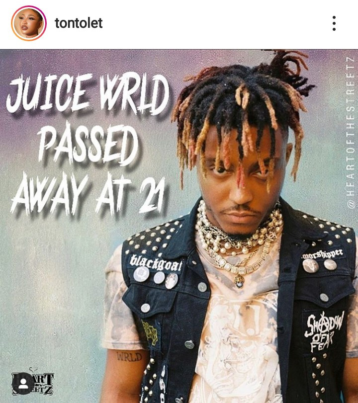 Tonto Dikeh Reacted To The Death Of Juice Wrld (2)