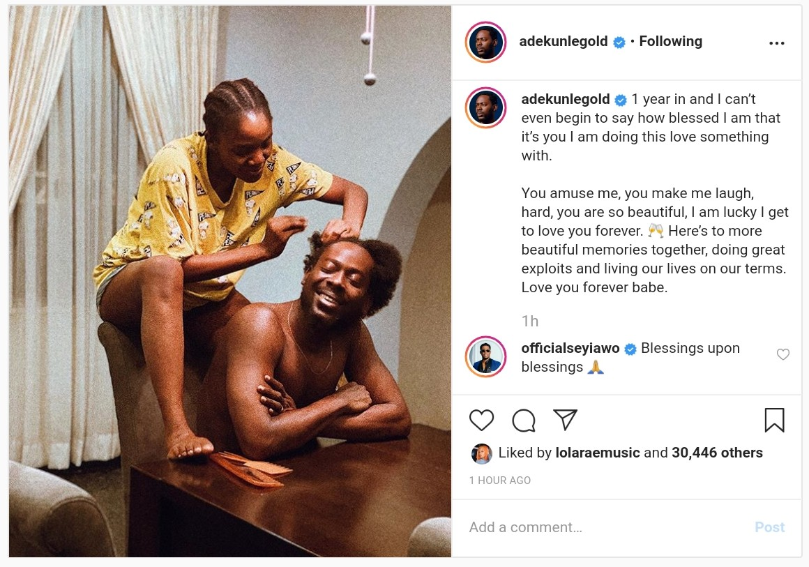 Adekunle Gold And Simi 1 Year Wedding Anniversary (2)