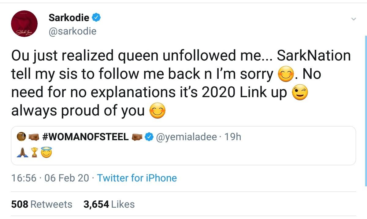 Sarkodie Apologizes To Yemi Alade (2)