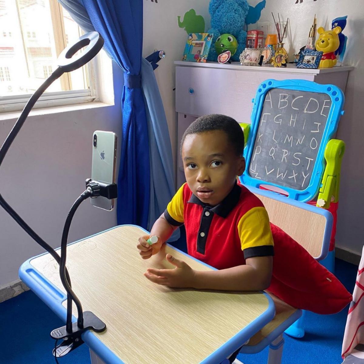 Tonto Dikeh Son's Online Learning Photos