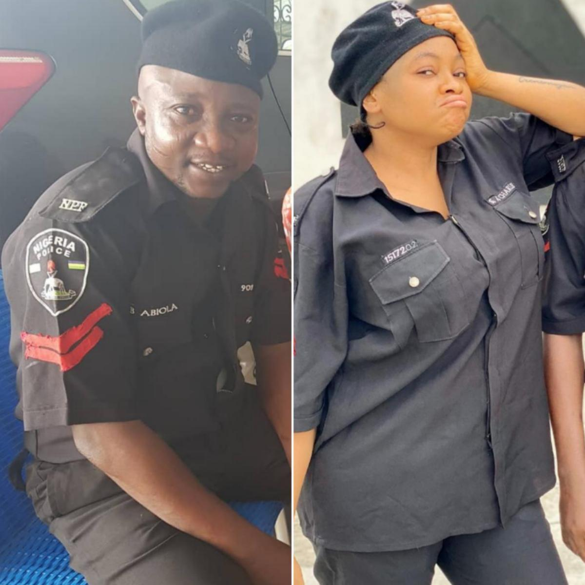 Funmi Awelewa And Olaniyi Afonja Police Uniforms Movie Set