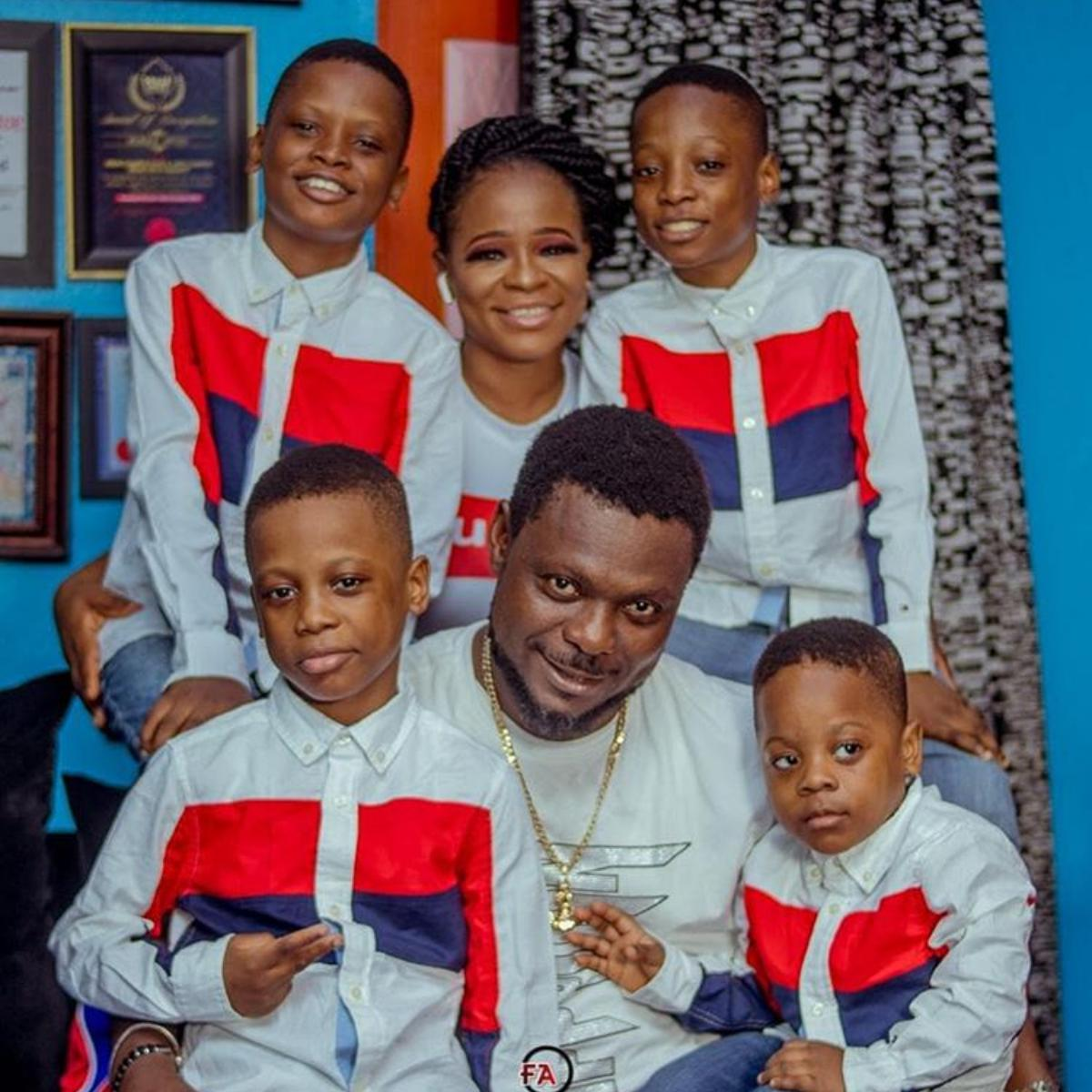 Kunle Afod And His 4 Sons Rock Matching Shirts