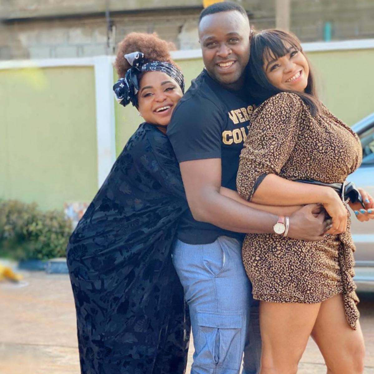 Funmi Awelewa And Femi Adebayo On Set IGBEYIN
