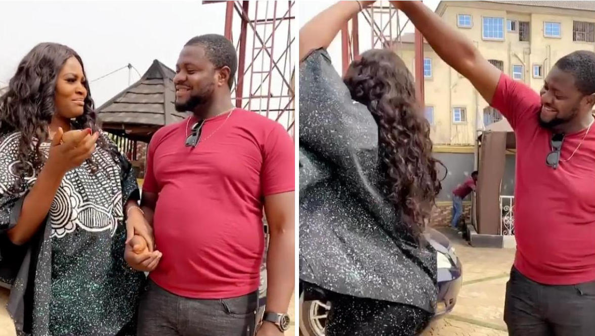 Colleague Gives Chizzy Alichi Coconut Then Spins Her Around On Set